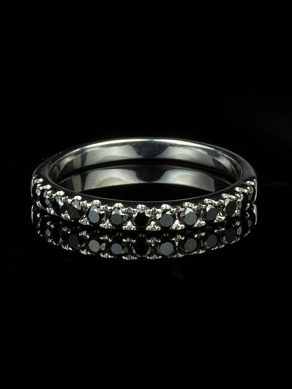 18ct Gold Black Diamond Half Eternity Ring