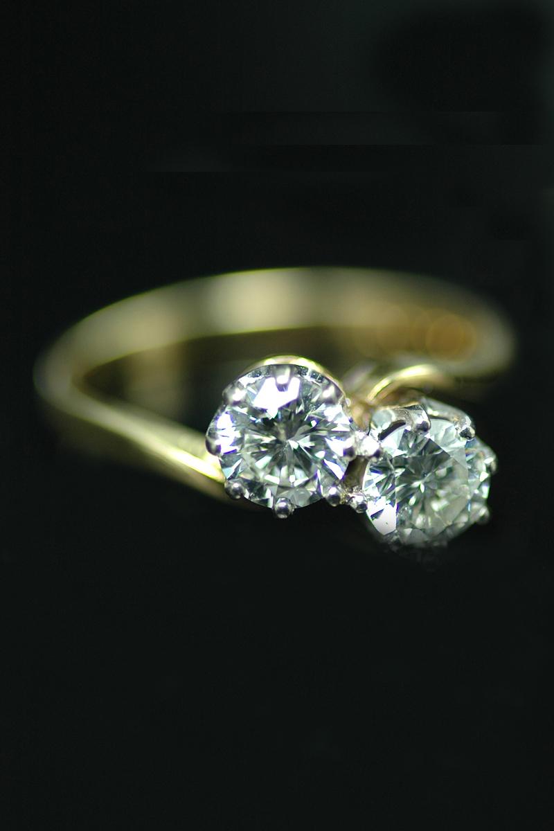 2 Stone Diamond Cross Over Ring Goodwins Antiques