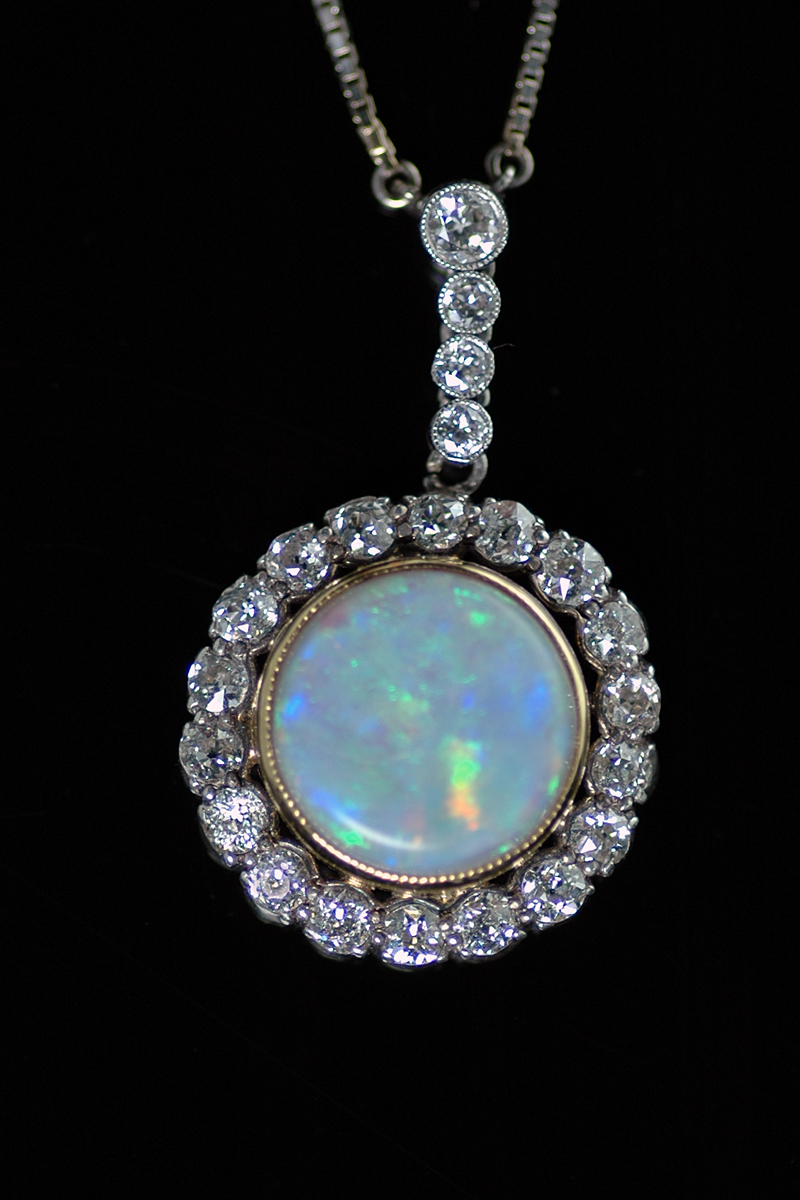 J468 opal diamond pendant 1