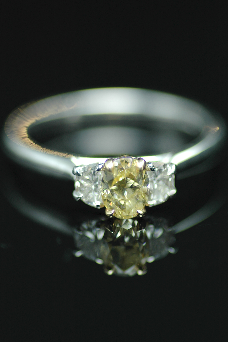 NS yellow diamond 3 stone ring 1