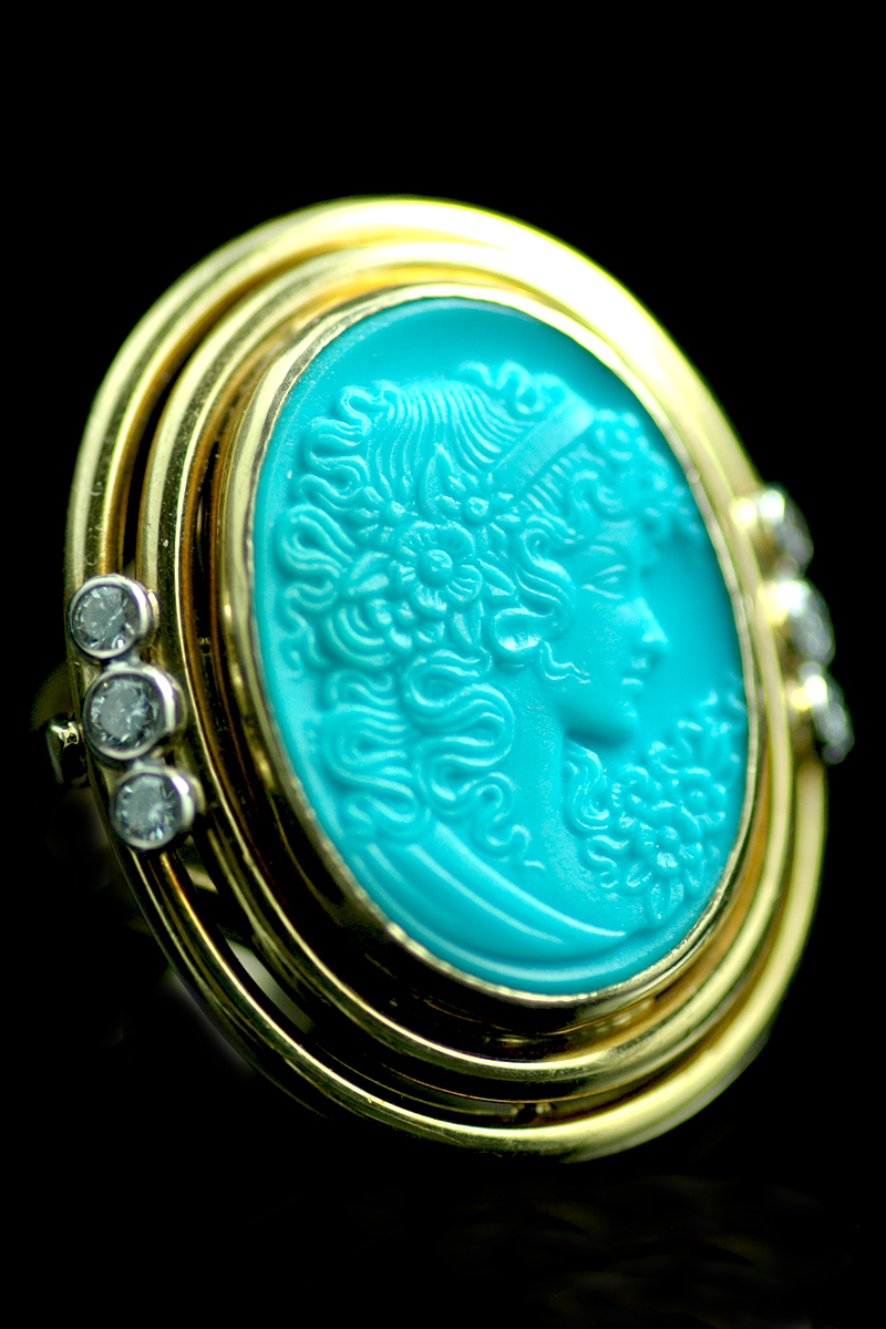 V9809 turquoise cameo ring 1