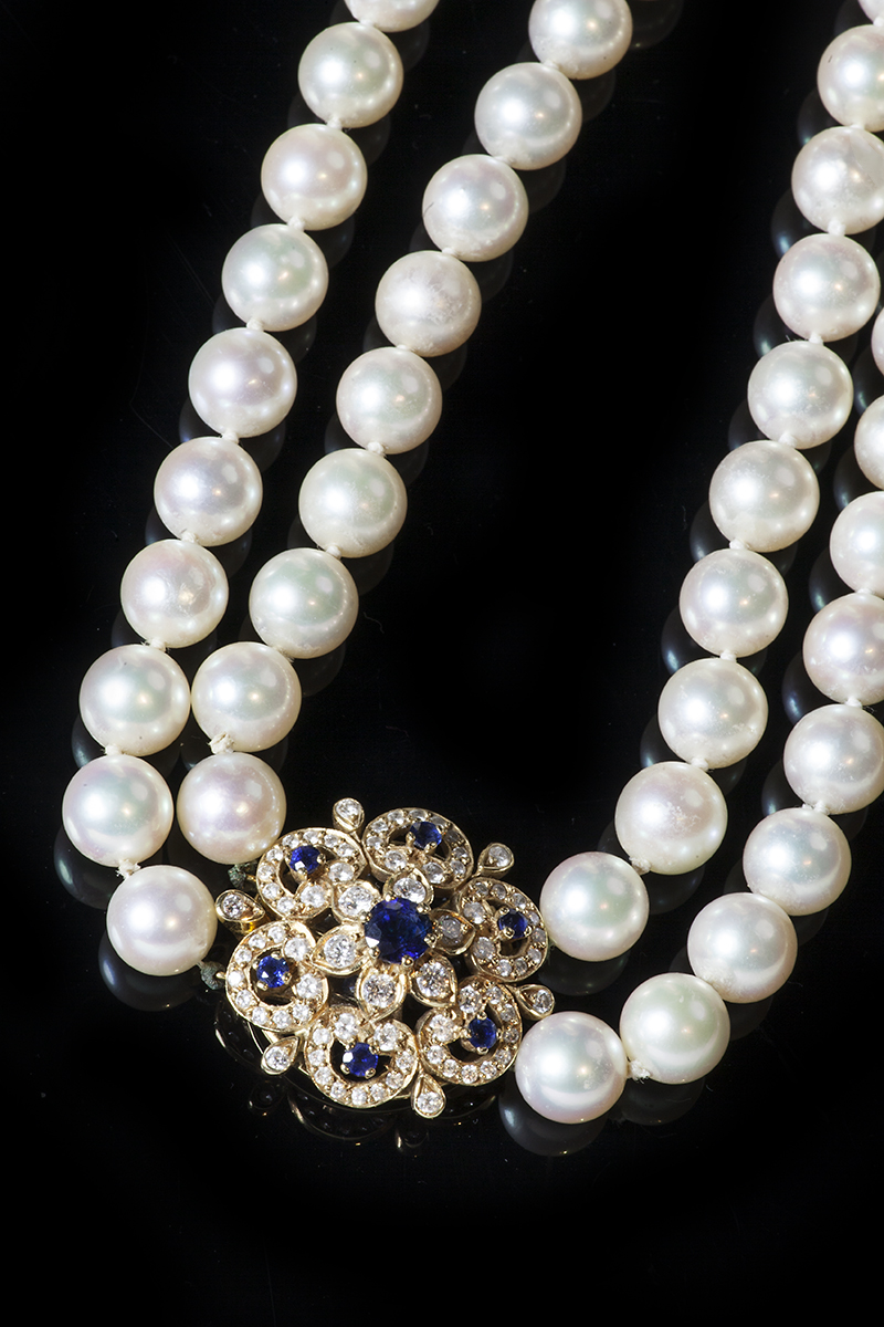 2 Row Pearl Necklace On A Sapphire And Diamond Clasp