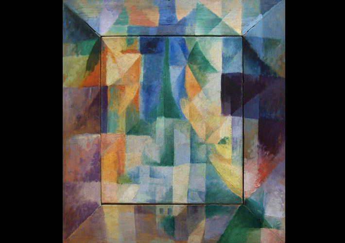 Abstract Cubist art was a key influence on art deco jewellery. Painted panel by Robert Delaunay, 1912