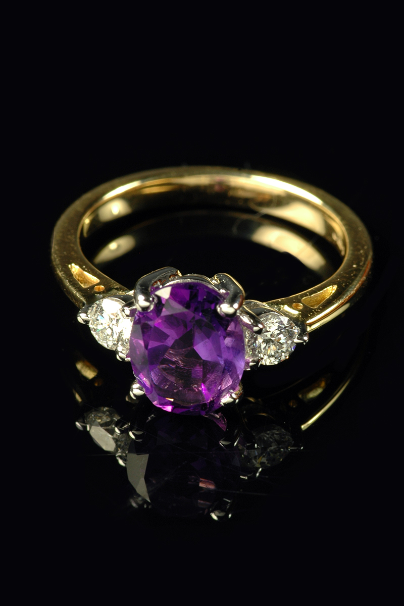 amethyst and diamond 3 stone1