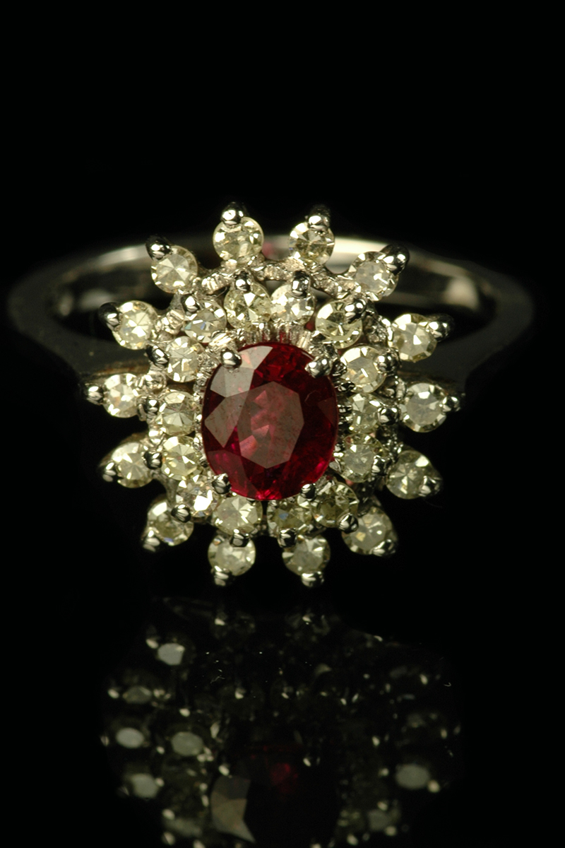 ruby and diamond cluster ring1