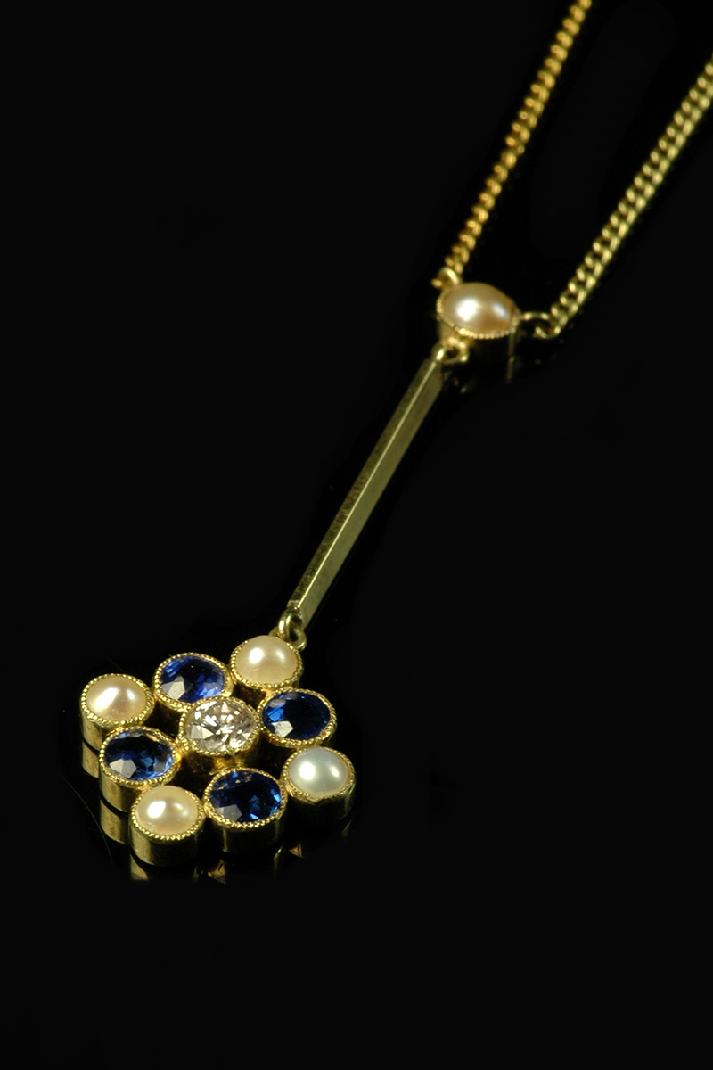 sapphire and pearl drop pendant2