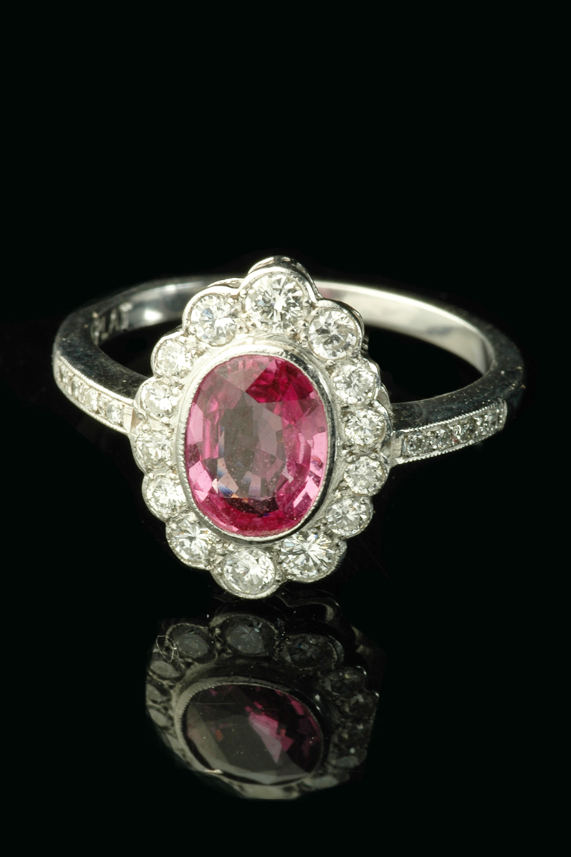 single secondhand sapphire gold pink ring stone diamond