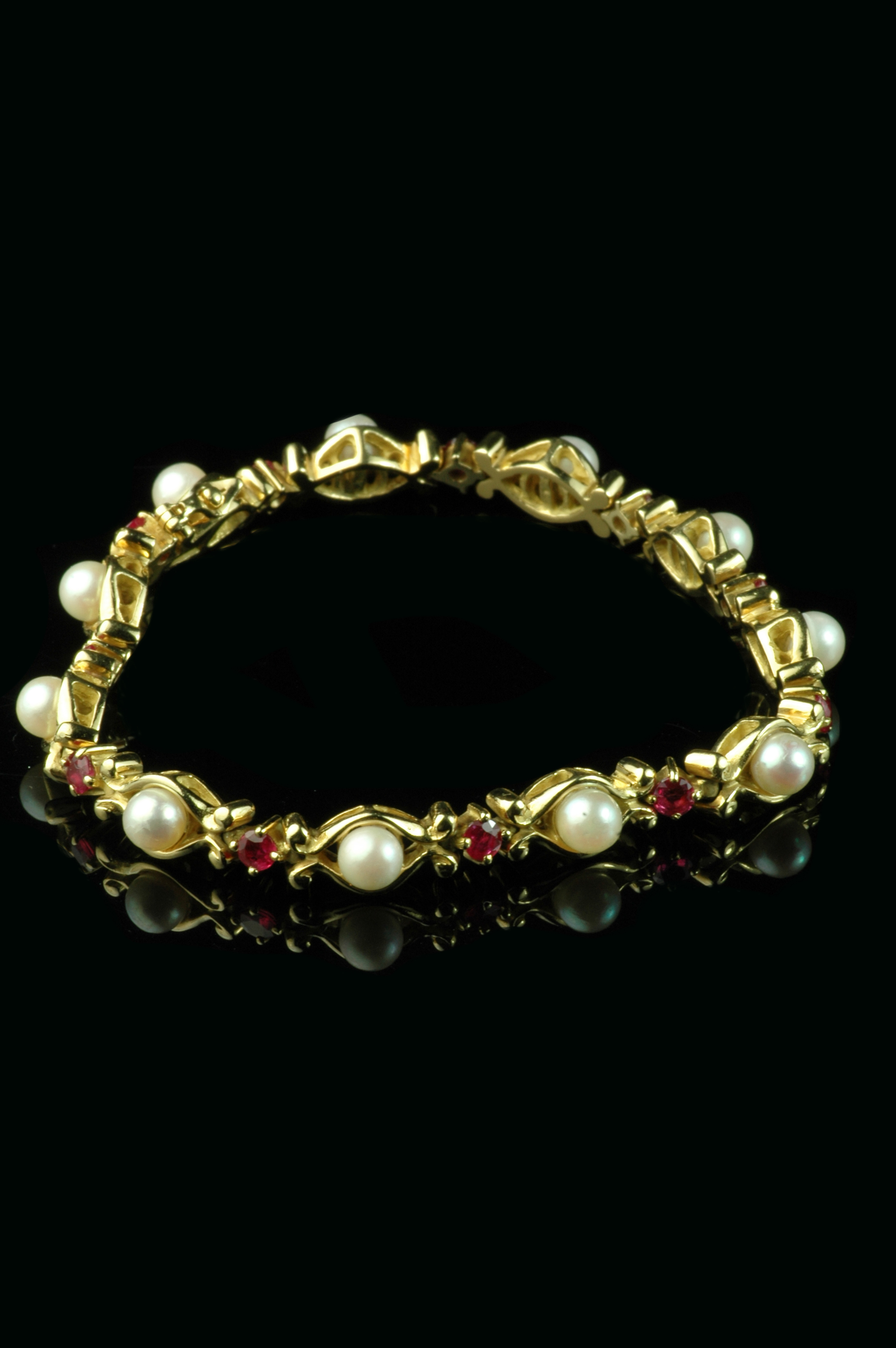 and oval ruby white diamond bracelet in gold image real