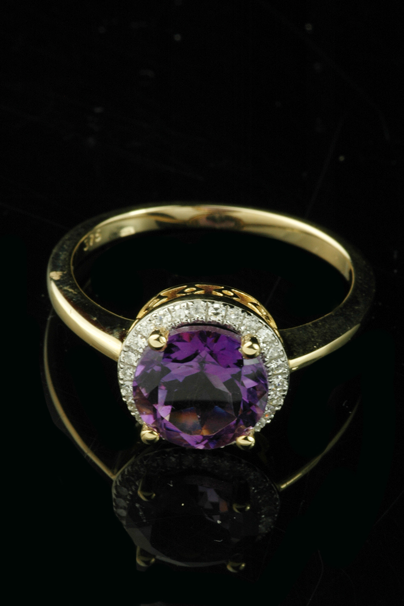 amethyst diamond cluster ring3