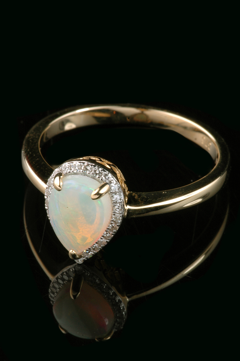 pear opal diamond cluster ring2
