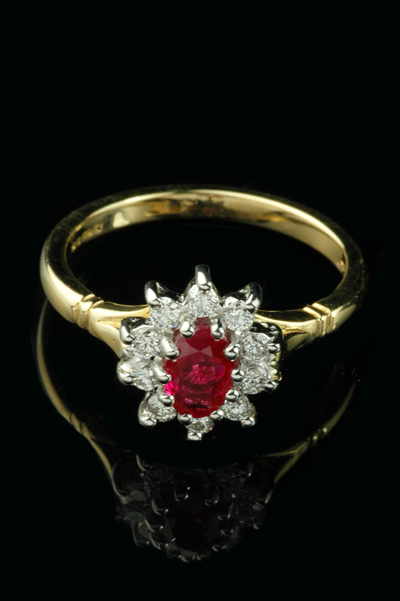 ruby diamond cluster ring3