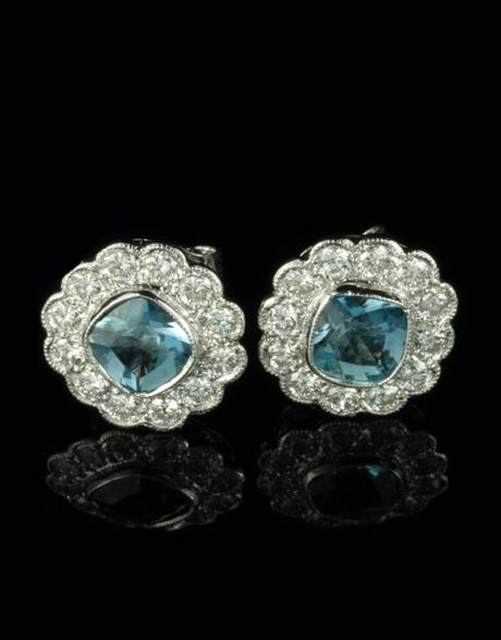Beautiful 18ct White Gold Aquamarine And Diamond Cer Earrings