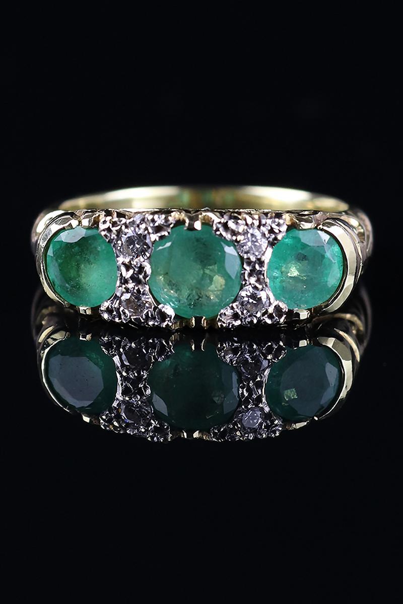 18ct Emerald & Diamond Three Stone Ring   Goodwins Antiques - photo#16